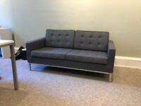 Modern Grey 2 Seater Sofa - Chrome Legs