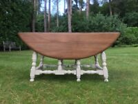 Hand painted vintage solid elm ERCOL gate leg coffee table