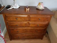 Beautiful Laura Ashley solid medium oak chest of drawer and matching 2 draw coffee tabke