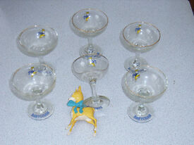 six babycham glasses with babycham figure