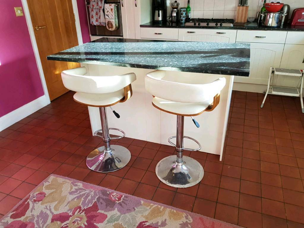 Cream Wood Bar Stools Pair Atlantic Shopping Kitchen
