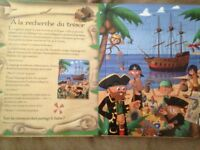 IN FRENCH PIRATE STORY BOOK AND PUZZLES SET 6 X 24 PIECES NEW