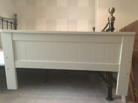 Single solid white wood bed frame, headboard, foot-board complete with mattress £50.00