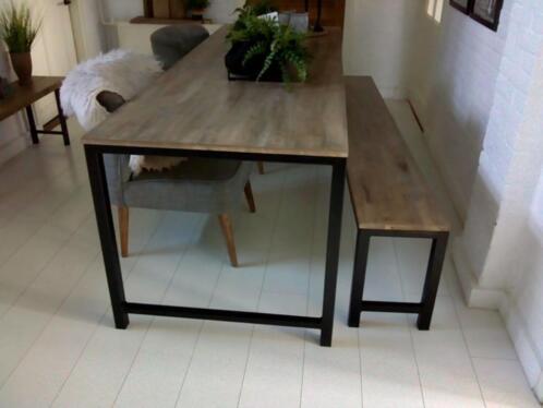 Onderstel Tafel Staal : ≥ tafel pals cm hardhouten blad met staal onderstel tafels