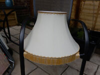 CAN DELIVER Vintage Cream & Gold Bell Lampshade Lamp Tassels Retro Shabby Chic Project Wedding