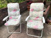 Two garden reclining chairs