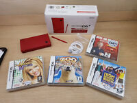 Red Nintendo Dsi Console With 4 games As New