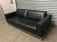 FREE DELIVERY REAL BLACK LEATHER 3 SEATER SOFA GOOD CONDITION