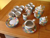 Table Top Company Mardi Gras cups, saucers, tea pot, milk jug etc