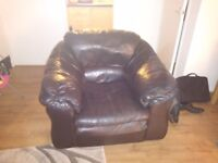 Genuine black 3 piece leather suite