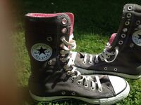 Converse Extra High Pumps Grey /Pink Size Uk 6