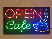 LED Flashing OPEN CAFE sign for shop business door hanging window coffee tea