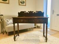 Solid Oak Console Table With Detachable Ornamental Back