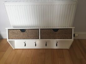 ***SOLD*** White Coat Rack with 2 Natural Wicker Baskets