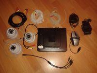CCTV set DVR 500GB HD 3 Webcams 3 Cables 2 Power Supplies Mouse