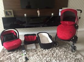 Red Silver Cross Wayfarer Pram and Pushchair Set includes Pram, Carrycot, Car Seat, Umbrella & Bag