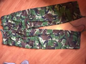 Genuine Army. Woodland Camoflauge Trousers and belt 80/88/104