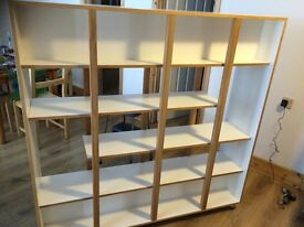 Reduced - Must sell - Solid Oak Mobile Room Divider Double-Sided Shelving Unit