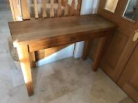 Solid oak consol table