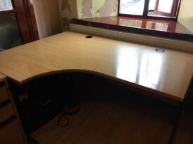 Large office corner desk with oak finish