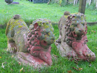 Pair of stone lion statues