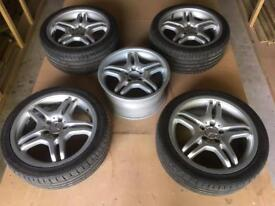 """Mercedes clk genuine AMG 18"""" alloys with new tyres."""