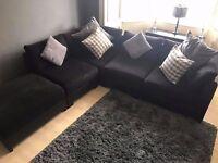 Large black corner sofa. Excellent Condition. £300
