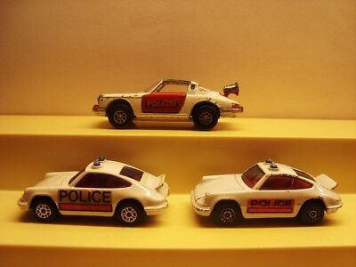 3 x Porsche 911 POLICE / POLIZEI  ( 2 Corgi Juniors / 1 Corgi Toys )