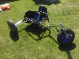 Kite buggy with kite.