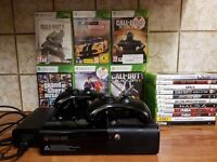 Xbox 360 Console And Controllers With 18 Games