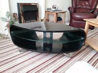 TV Stand black curved solid corner unit on chrome feet