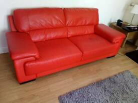 Red leather 3&2 sofa
