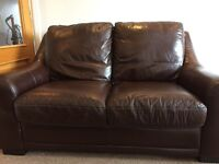 Chocolate brown leather suite 3+2 seater