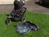 Phil and Teds Double Buggy. Sports Model. Complete with rain cover and baby cocoon. Good condition