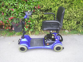Sterling Little Gem mobility scooter in blue, up to 18 stone user weight, good condition.