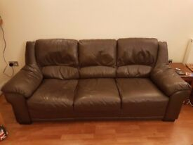 Dark Brown 3 Seat Leather Sofa
