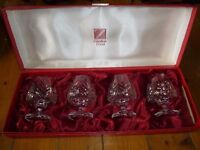 Set of 4 cut glass brandy glasses