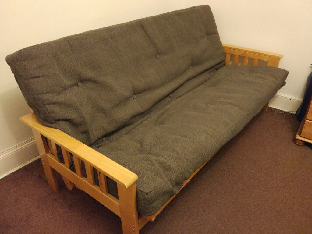 Fold Out Timber Futon Sofa Bed Double Size