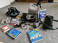 Camera bags, tripod, books, dvds, filters, flash gun