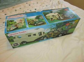 sylvanian families car and caravan set