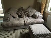 Sofa bed - beige corduroy with footstool