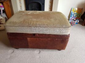 Leather storage footstool