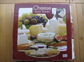 Glass Lazy Susan Turn Table Cheese Serving Board Party Dining Gift Rotating 360°