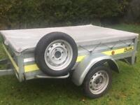 """HUGE Franc 6ft 6"""" x 4ft 3"""" tipping trailer + spare wheel/cover"""