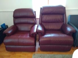 Medium faux leather brown recliner