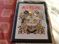 COLOURFUL FRAMED LARGE MARTINI ADVERTISING PUB MIRROR