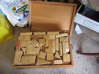 Old Edwardian wooden box full of wooden bricks - coffee table, storage, display, toys etc