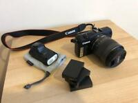 Canon SLR Mirrorless EOS M Boxed 18mp, Flash, 18-55m Lens and spare batteries