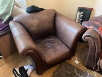 Large Brown Leather Sofa and armchair