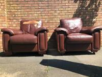 Vintage retro Mid century pair of large brown leather armchair